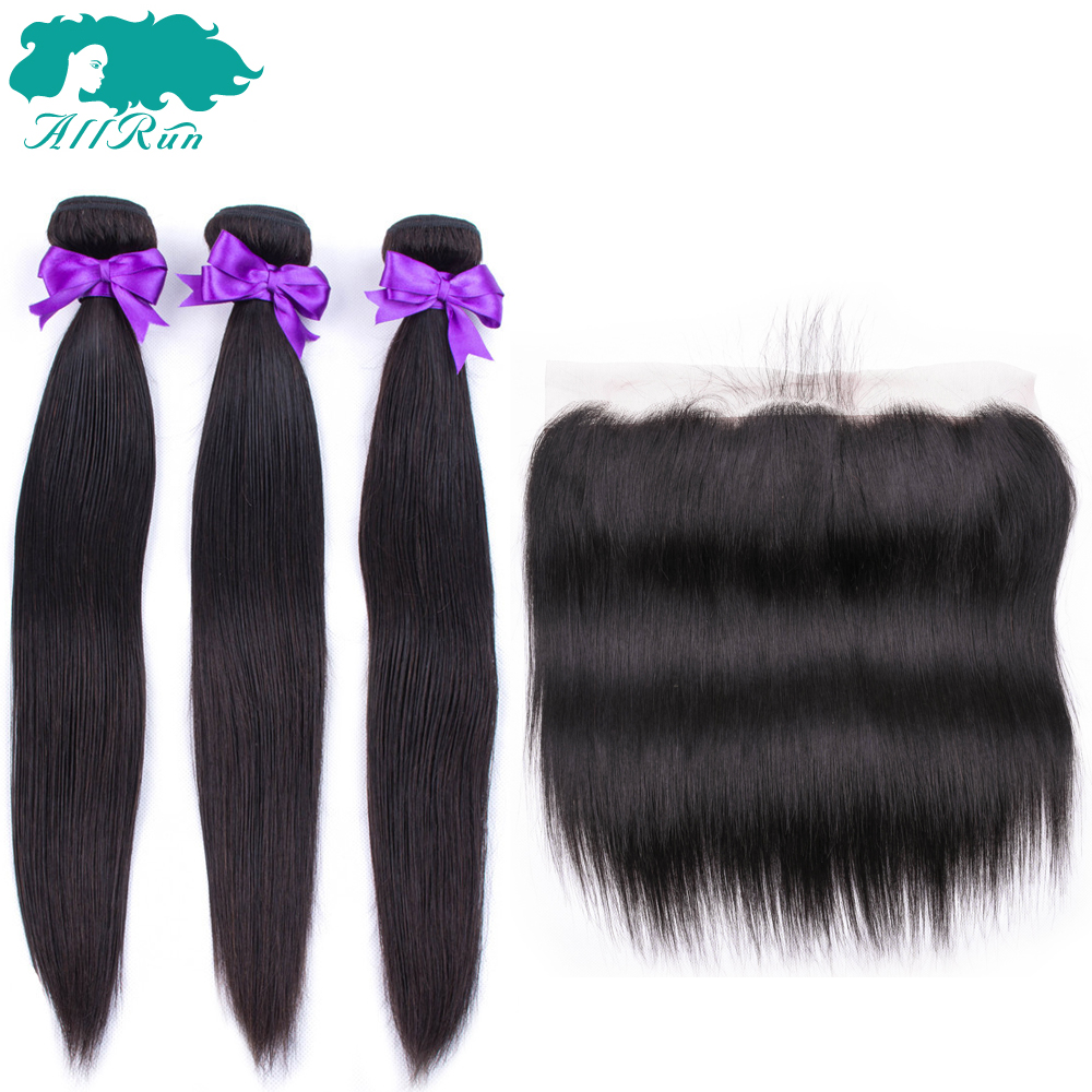 Allrun Brazilian Straight Hair Lace Frontal With Hair Weave Bundles Straight Human Hair Extension Bundles With  Frontal Non Remy