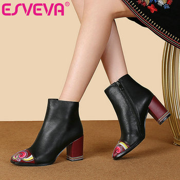 ESVEVA 2020 Women Shoes Winter Ankle Boots Western Pointed Toe Printing Leather+PU High Heel Motorcycle Boot Size 34-43