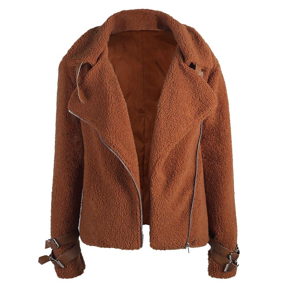 Punk Style Women   Jacket   Plus Size Fleece   Jacket   Women 3xl Autumn Winter Plush Coat Lapel Casual   Basic     Jacket   Motorcycle Chaqueta
