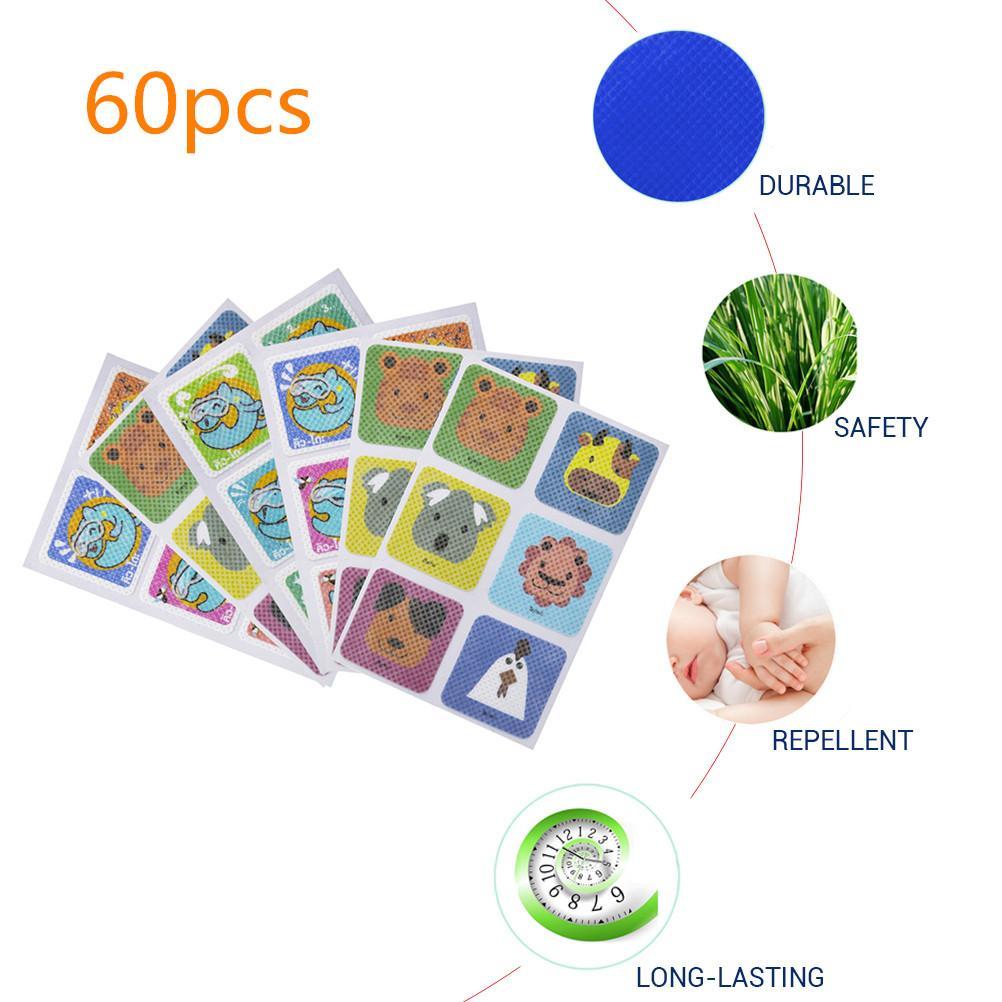 60pcs/Bag Mosquito Killer Stickers DIY Mosquito Repellent Stickers Patches Cartoon Children's Mosquito Repellent Patch