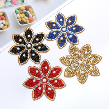 beaded embroidery patch flower cartoon patches for hats bag badges applique patches for clothing VP-1738 image