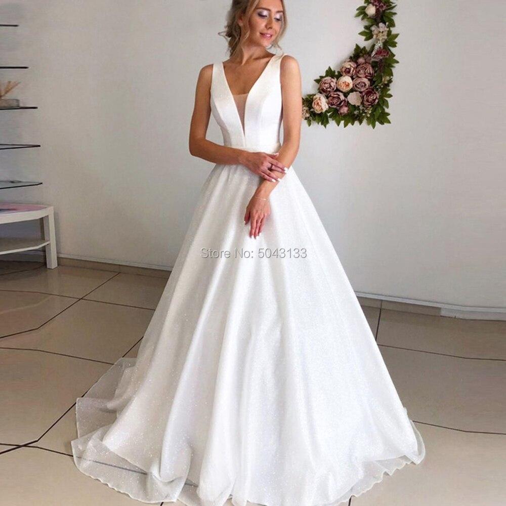 Deep V Neck A Line Wedding Dresses 2020 Off The Shoulder Boho Beach Bridal Gowns Sleeveless Corset Back Vestidos De Noiva