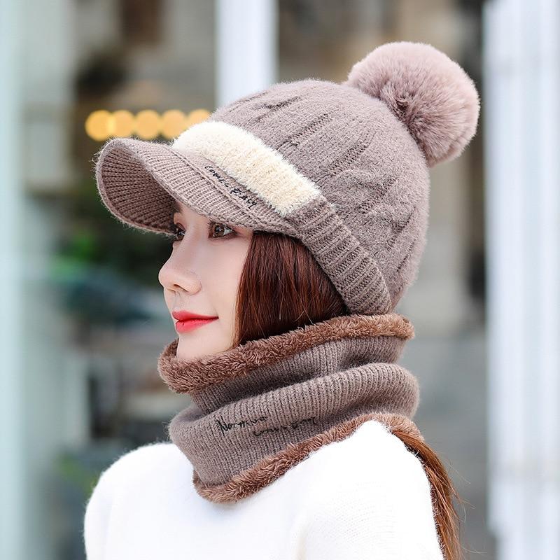 2019 Fashion Winter Hat And Scarf Set Two-Piece Women Thicken Winter Warm Set Female Hats Scarves Unisex Girls Beanie Hat Bonnet