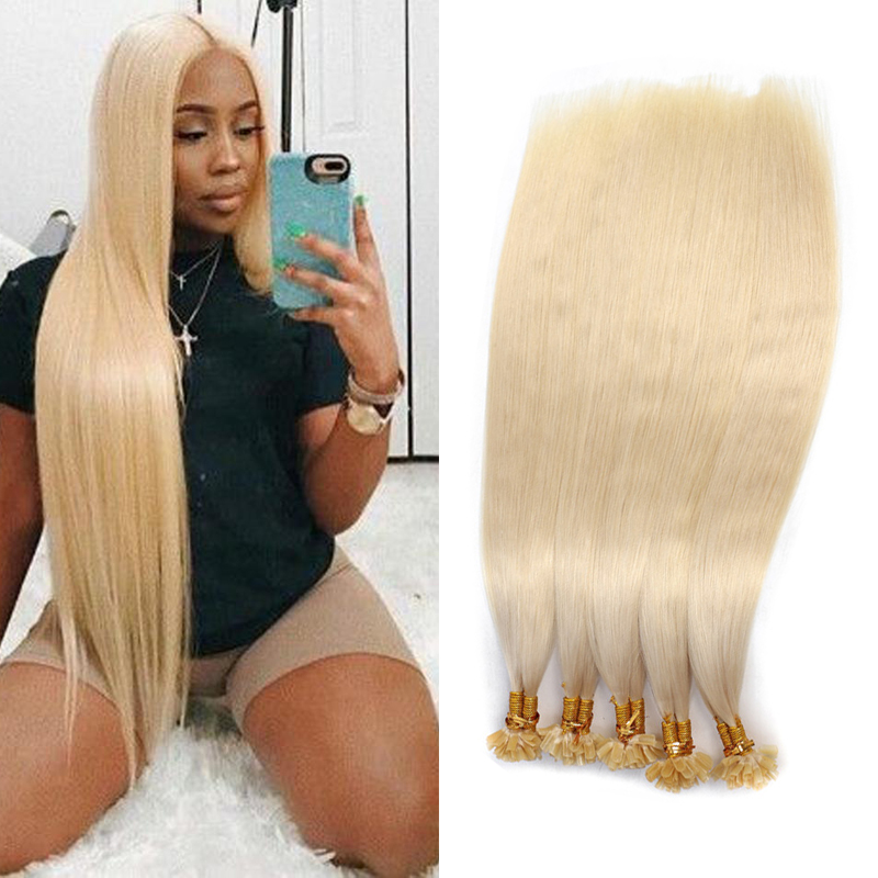 Fashion Fusion Hair Extension Human Straight Keratin Capsules Ongle Human Hair Nail U Tip Remy Pre Bonded Real Hair Extensions