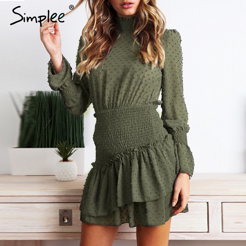 Simplee Turtleneck Polka Dot Winter Dress Women Long Sleeve Retro Short Party Dress Red Streetwear Casual Ruched Dress Vestidos