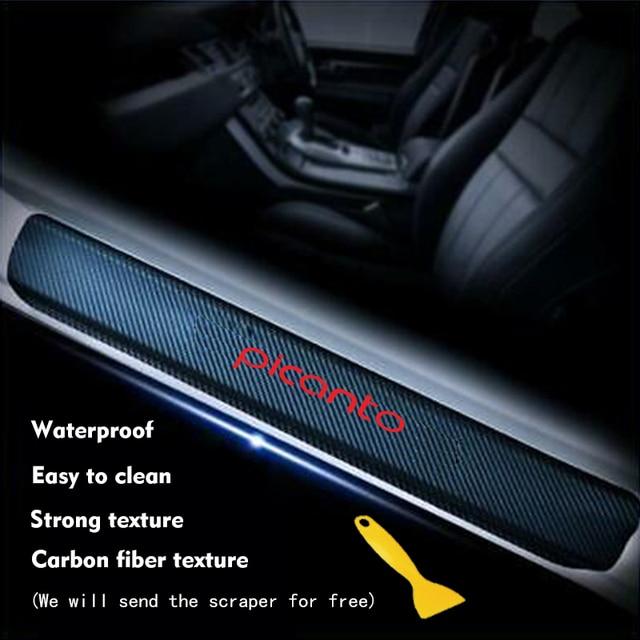 Car Door Plate Stickers For Kia Picanto Carbon Fiber Look Car Sticker Door Sill Scuff Cover Anti Scratch Decal Car Accessories