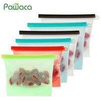 Silicone Food Storage Bag Reusable Vacuum Food Bag Sealer Fruit Meat Storage Bags Ziplock Food Saver Bags Fridge Food Containers|Saran Wrap & Plastic Bags|   -