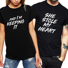 Couple Clothes for Lovers Letter Print She Stole My Heart Tees Funny T Shirt Female Tops Plus Size Women T-shirt Cotton T-shirt(China)