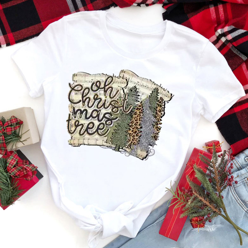 Christmas Tree Shirt 90s Casual Print Tee Vintage Women Christmas Snow Deer Woman Tshirt Clothes Graphic 2019 Tees