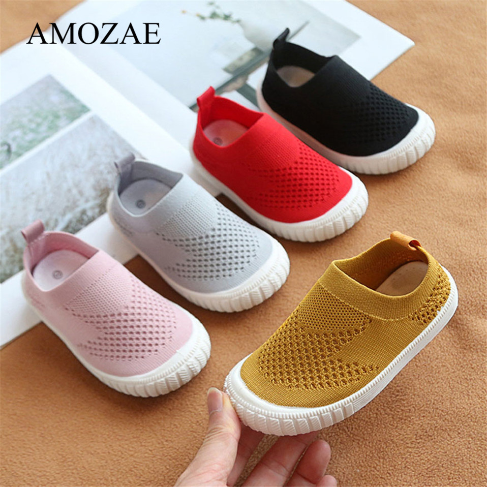 Baby Boy Girl Shoes Kids Casual Sneakers Candy Color Cut-outs Cotton Fabric Breathable Soft Bottom Children Anti-Slip Shoes