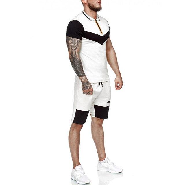 Summer Men Set Sportswear Short Sleeve + Casual Short 2 Piece Set  Thin Track Suits 2020 Mens Fitness Running Sport Sweat Suit 5