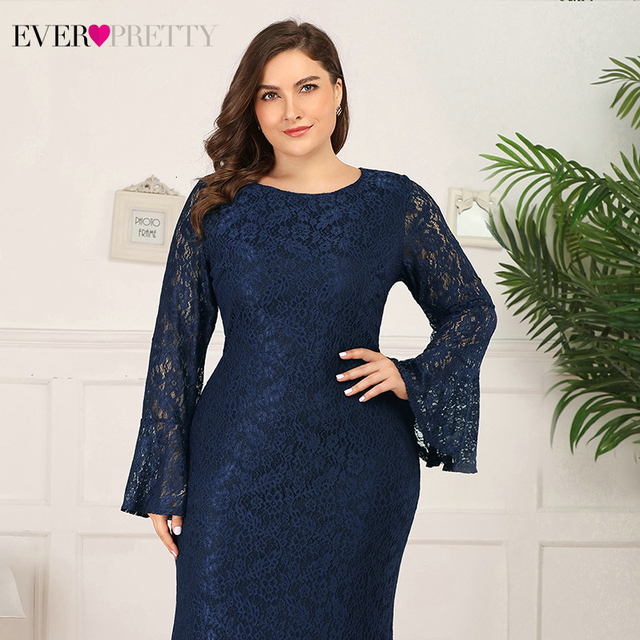 Plus Size Prom Dresses Long Ever Pretty Mermaid Flare Sleeve O-Neck Elegant Floral Lace Evening Party Gowns Vestidos De Gala 4
