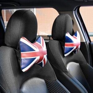 Image 2 - 1pc carro travesseiro pescoço encosto de cabeça para bmw mini cooper couro do plutônio universal cabeça resto almofada estilo automóvel acessórios
