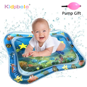 Baby Water Play Mat Tummy Time Toys For Newborns Playmat PVC Toddler Fun Activity Inflatbale Mat Infant Toys Seaworld Carpet(China)