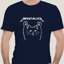 Men's Cotton Cat Meowtallica Cat Rock Music Men's T-shirt Deep Heather Cotton Fashion Gift Funny T-shirt