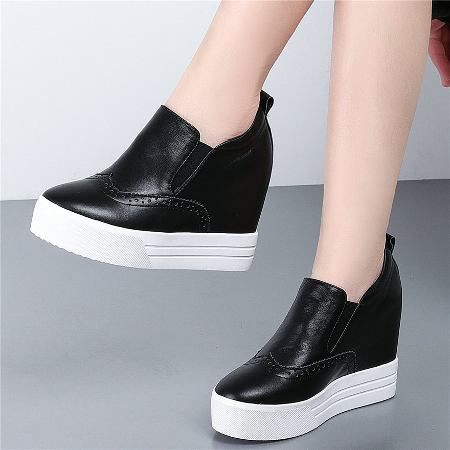 Wedges Platform Oxfords Shoes Women Genuine Leather High Heel Pumps Shoes Female Low Top Round Toe Sneakers Punk Trainers 2020