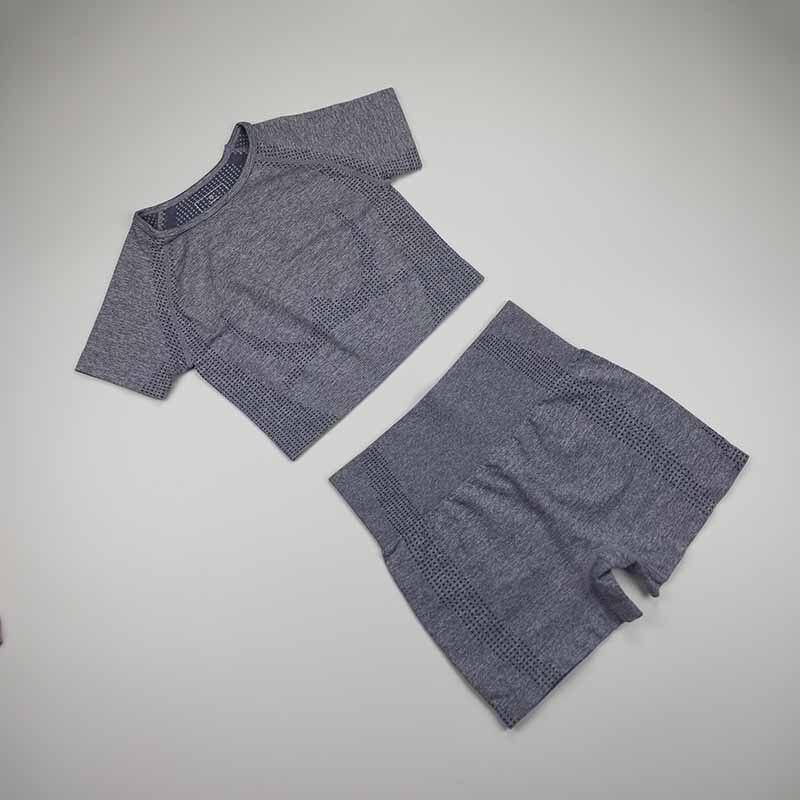 Women Vital Seamless Yoga Set Fitness Short Sleeve Crop Top Shirts Running Shorts Workout Clothes For Women Gym Sets 2 Piece Set