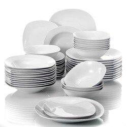 MALACASA Elisa 48-Piece Porcelain Tableware Dinner Set Cereal Bowls Dinner Soup Dessert Plates Set Service for 12 Person