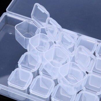 28/56/224 Slot Transparent Plastic Storage Box Diamond Painting Accessories Tool Nail Art Rhinestone Bead Storage Box