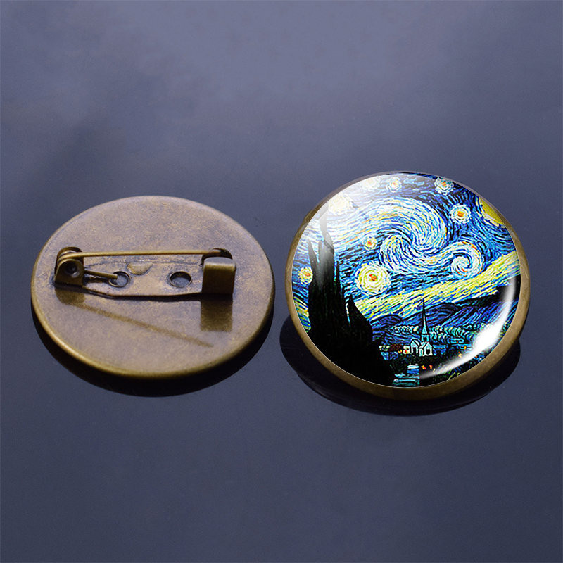 Vintage Art Van Gogh Brooches Starry Night Handmade Oil Painting Glass Cabochon Bronze Brooches Pin Men Women Christmas Gift