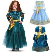 Nova fantasia bravo merida vestido de princesa cosplay traje quente para crianças meninas halloween fantasiar-se merida peruca festa suprimentos