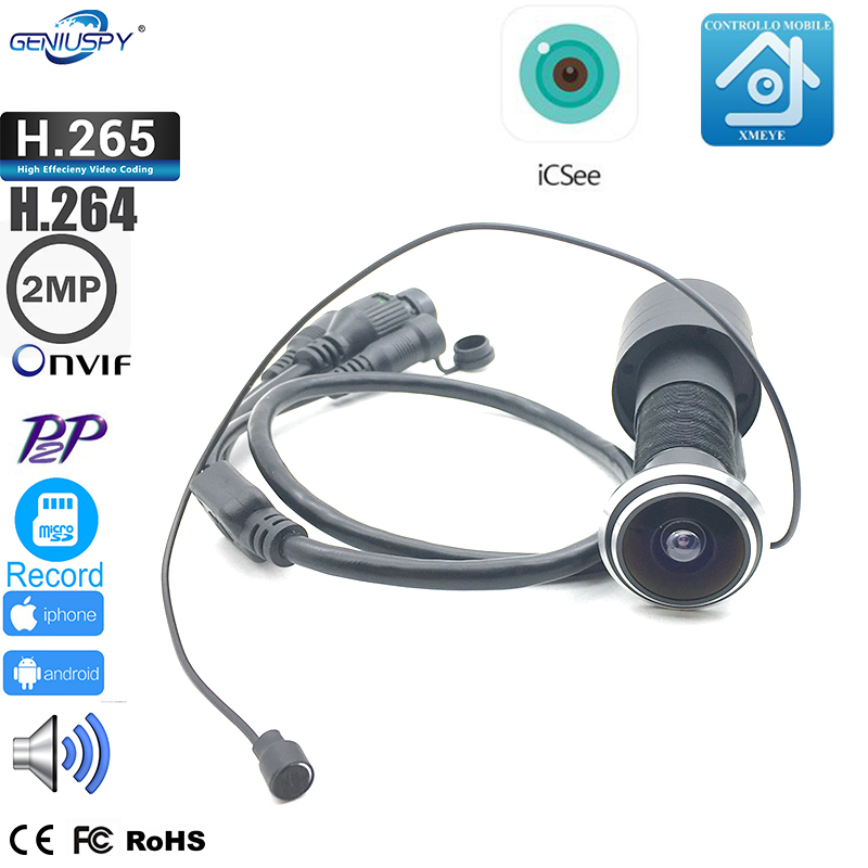 H.265 Sony IMX307 1080P P2P Onvif Peephole Door Eye Hole Camera With Audio IP Surveillance 1.78mm Lens Fisheye Phone Remote View