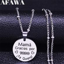 Mama – collier rond en acier inoxydable, couleur argent, espagnol, petite breloque, bijoux pour femmes, N1831S01