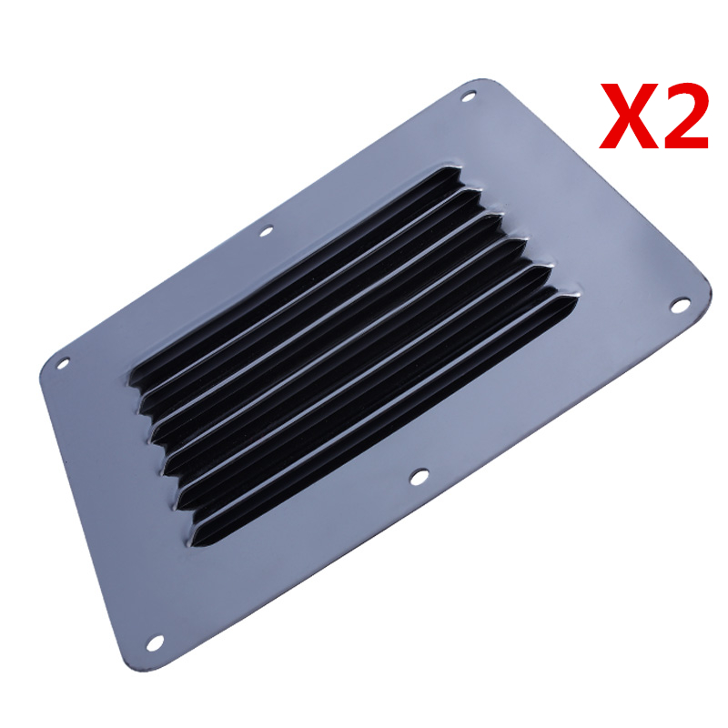 """Pair Stainless Steel Louvered Vent 9/"""" Air Grill Cover Vent Ventilation Stamped"""