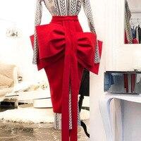 2019 Women Pencil Skirt Front Big Bow Tie High Waist Split Slim Female Package Hip Skirt sexy Casual Officewear Elegant Skirt
