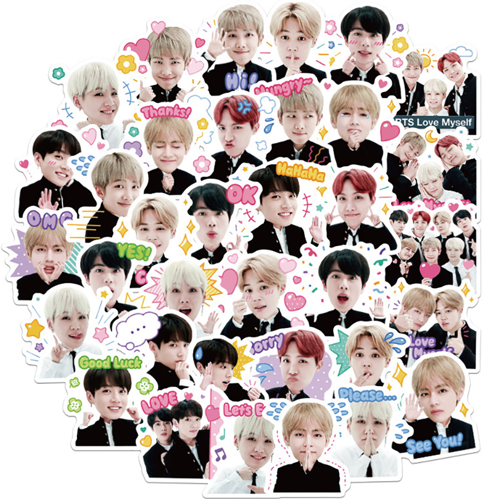 40PCS Fashion Boy BTS Graffiti Stickers DIY Motorcycle Travel Luggage Guitar Skateboard Waterproof Classic Toy Stickers For Kid