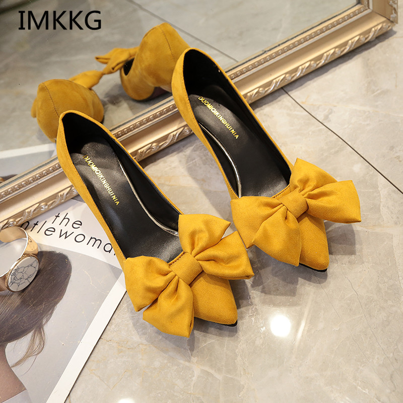 Women Pumps Brand Women Shoes High Heels Sexy Bow Pointed Toe High Heels Ladies Shoes V425