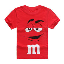 Boys T-Shirt Toddler Tops Short-Sleeve Kids Cartoon Summer Red Tee Chocolate-Beans M-Pattern