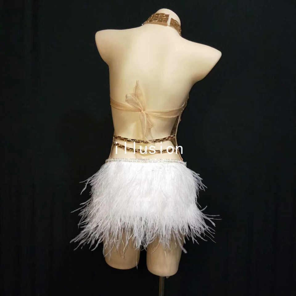 Sparkly Silber Kristalle Mesh Body Frauen Feder Trikot Outfit Weibliche Bar Dance Bühne Party Dance Kostüm Feiern Kleid