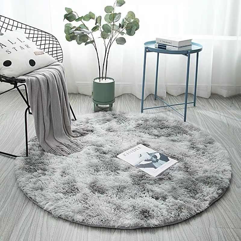 heteroclite tapis rond salon peluche tapis moelleux gris shaggy tapis chambre canape table tapis de sol doux enfants chambre tapis decor a la maison