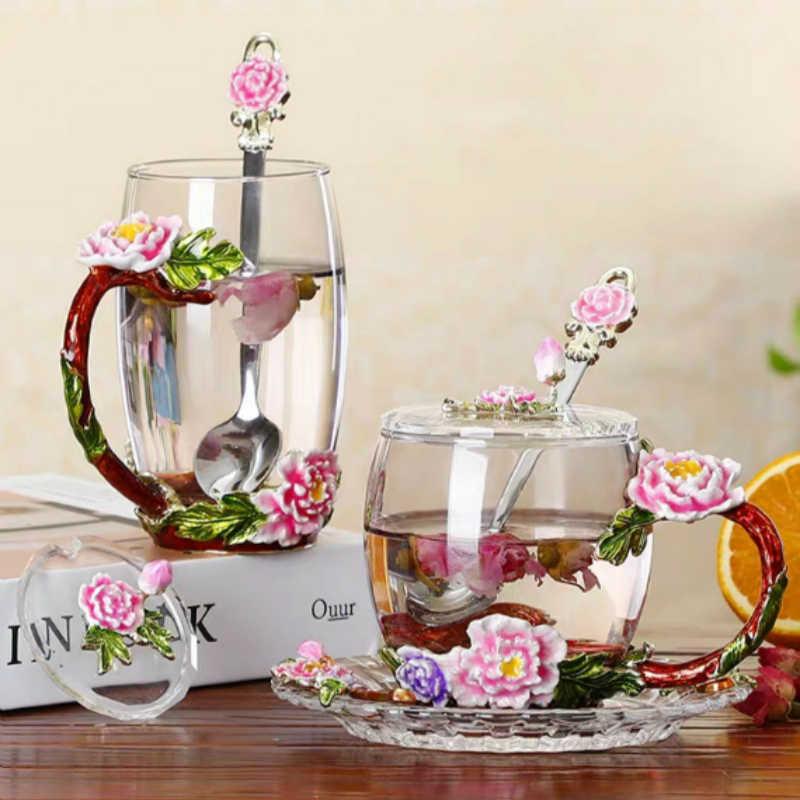 에나멜 크리스탈 커피 컵과 뜨거운 것과 차가운 음료에 대 한 머그잔 홈 차 컵 스푼 세트 완벽 한 결혼 선물 꽃 차 유리 컵