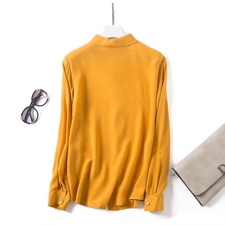 Yellow Round Neck Long-Sleeved Shirt Button Heavy Silk Blouse 2021 Spring And Autumn New Commuter Women's Clothing