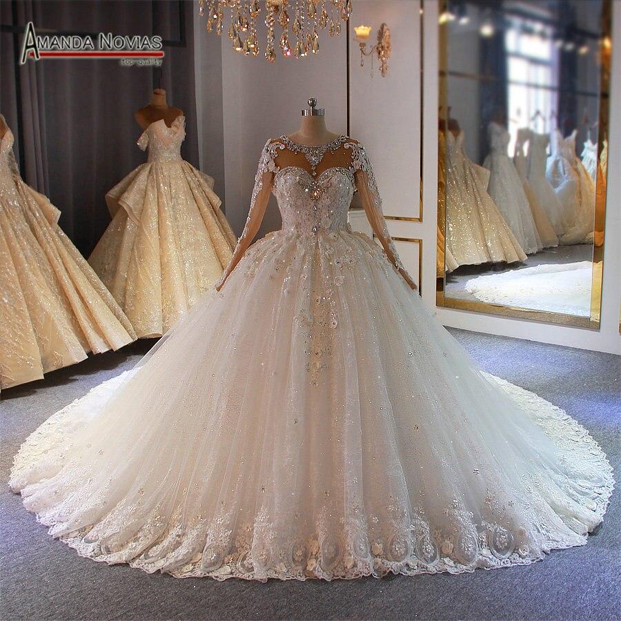 2020 Bride Dress Amanda Novias Top Quality Custom Order Heavy Beading Wedding Dress Ball Gown Wedding