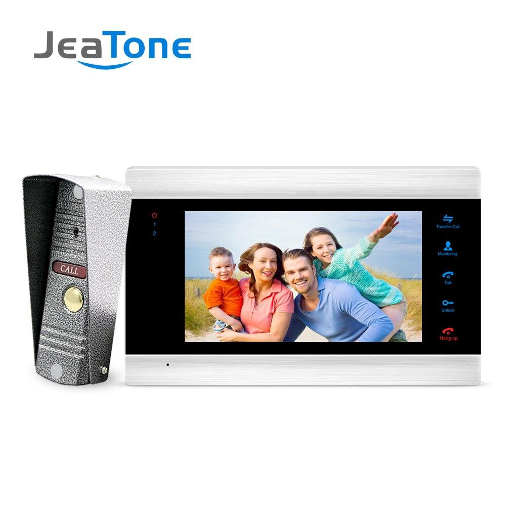 JeaTone nouvel interphone de moniteur de sonnette vidéo de 7 pouces avec système d'interphone de porte IP65 de caméra extérieure 1200TVL