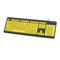 Teclado do jogo do computador do computador para pessoas idosas prendido do jogo do computador do elderlyb da cópia do preto da letra do amarelo do contraste alto pro grande