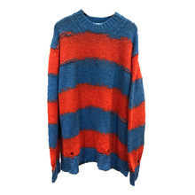 2019 Sweater Women Loose Hit Color Striped Broken Wool O-Neck Pullovers Computer Knitted black Sweaters