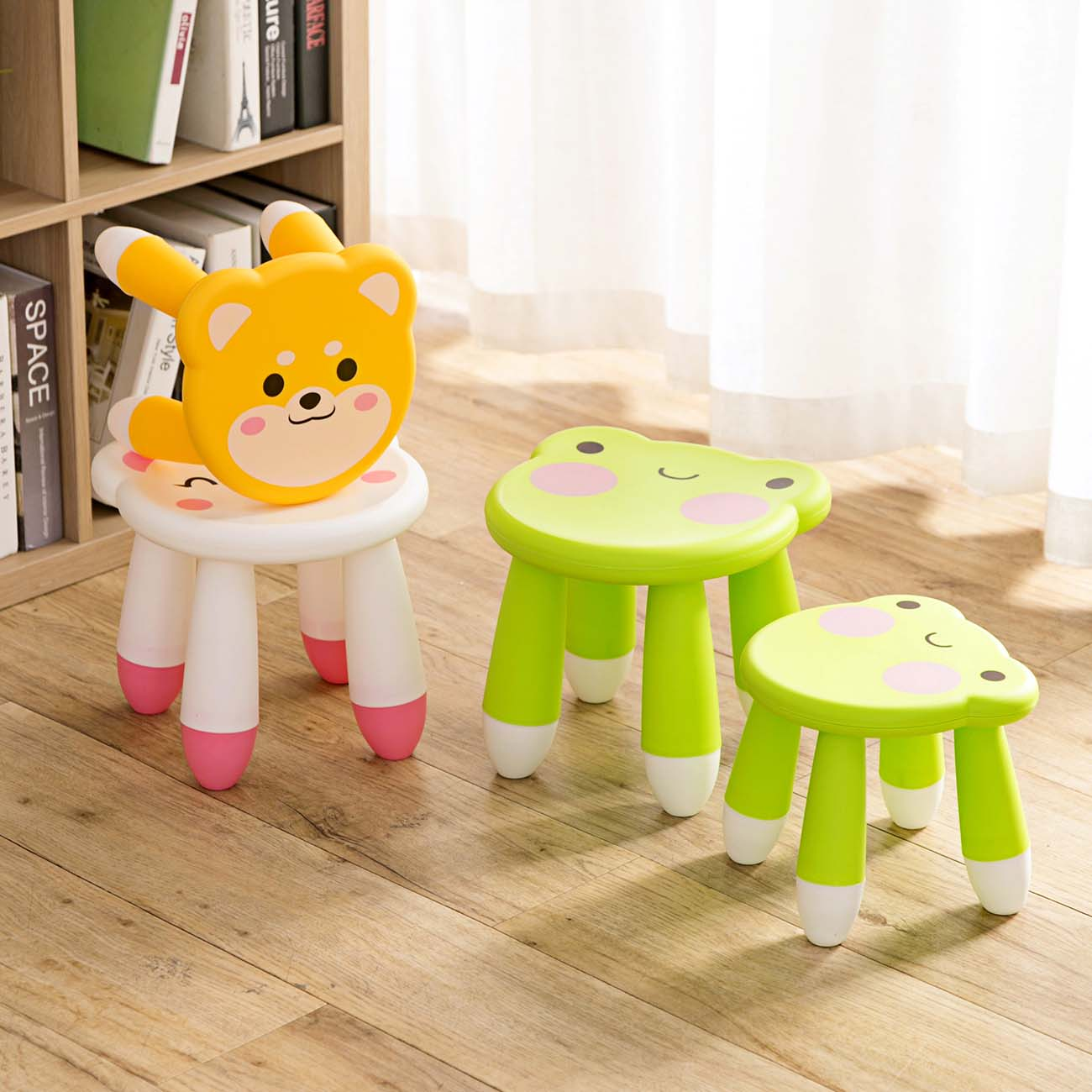 Carton Frog Kids Thicken Plastic Small Stool Living Room Adult Change Shoe Bench Bathroom Child Low Bench Baby Study Stool