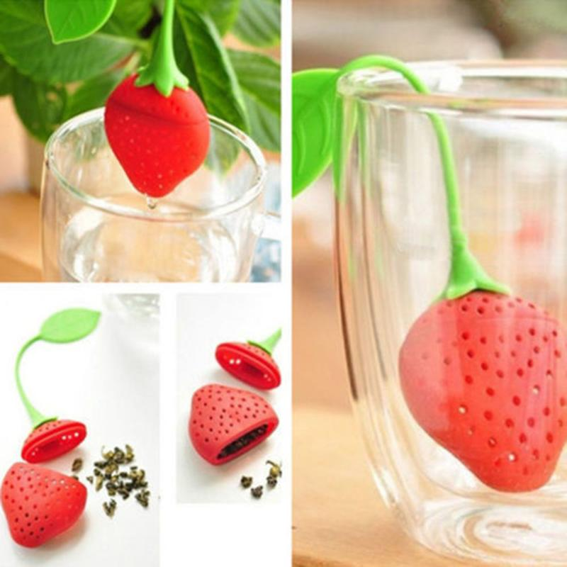 Strawberry Shape Silicone Loose Tea Leaf Strainer Non-toxic Herbal Spice Infuser Filter Diffuser Kitchen Teaware Supplies