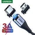Кабель UGREEN для быстрой зарядки и передачи данных USB Type-A-USB Type-C/Micro USB, 3A, магнитный, 1м