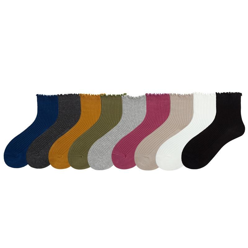 Lace Solid Color Crew Women Socks Cotton Striped Autumn Winter New Breathable Comfortable Deodorant Fashion Sports Socks Women in Socks from Underwear Sleepwears