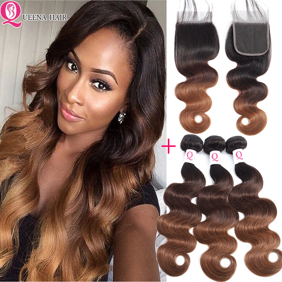 Ombre Bundles With Closure 1B/4/30 Ombre Peruvian Hair 3 Bundles With Closure Pre Colored Remy Human Hair Bundles With Closure