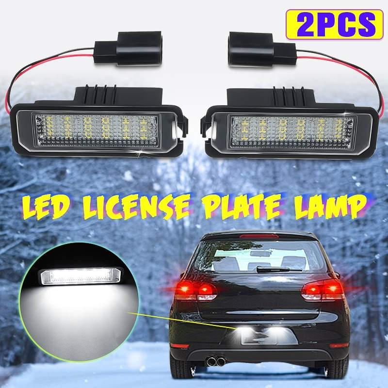 2 pièces 12V 5W LED numéro plaque d'immatriculation lampes lumineuses pour VW GOLF 4 6 Polo 9N pour Passat voiture plaque d'immatriculation lumières accès extérieur