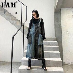 [EAM] Women Blue Denim Contrast Color Split Strapless Dress New Sleeveless Loose Fit Fashion Tide Spring Summer 2020 1T847