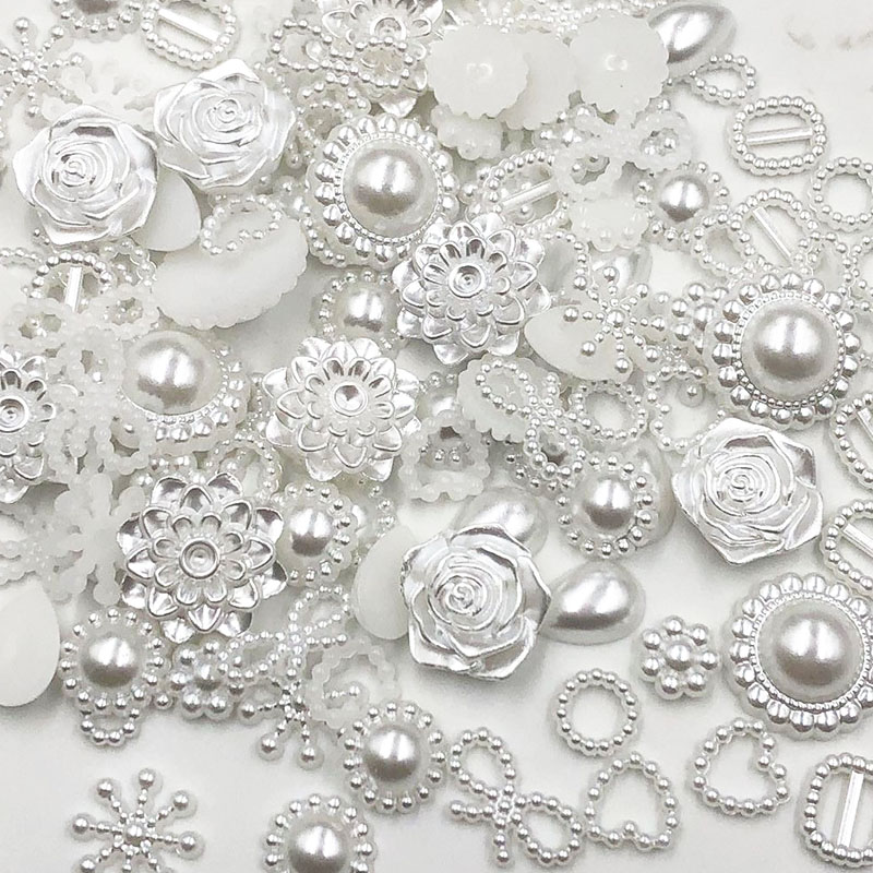 100pcs white ABS Resin Half Round flower Bow Alien Pearls For Art Flatback Non Hotfix Rhinestones Pearl Shoes Beads DIY Phone(China)