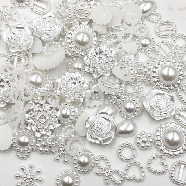 100pcs white ABS Resin Half Round flower Bow Alien Pearls For Art Flatback Non Hotfix Rhinestones Pearl Shoes Beads DIY Phone