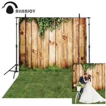 цены Allenjoy Spring Photozone backdrops Wedding Easter vintage wood Floor grass garden photography background photo studio photocall